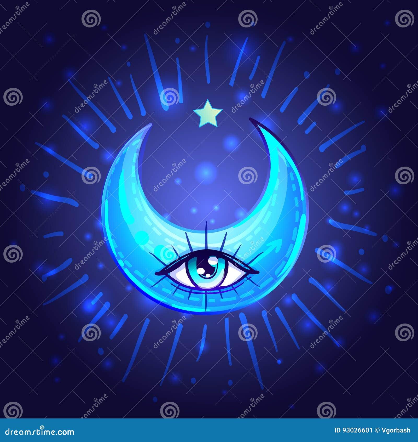 Crescent Moon mistico con un occhio in anime o nello stile di manga A mano