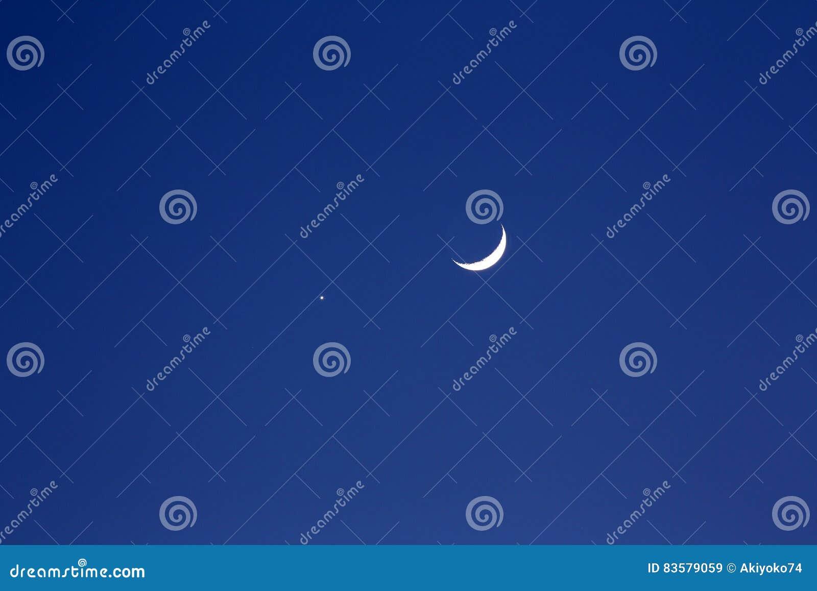 Crescent moon and planet venus