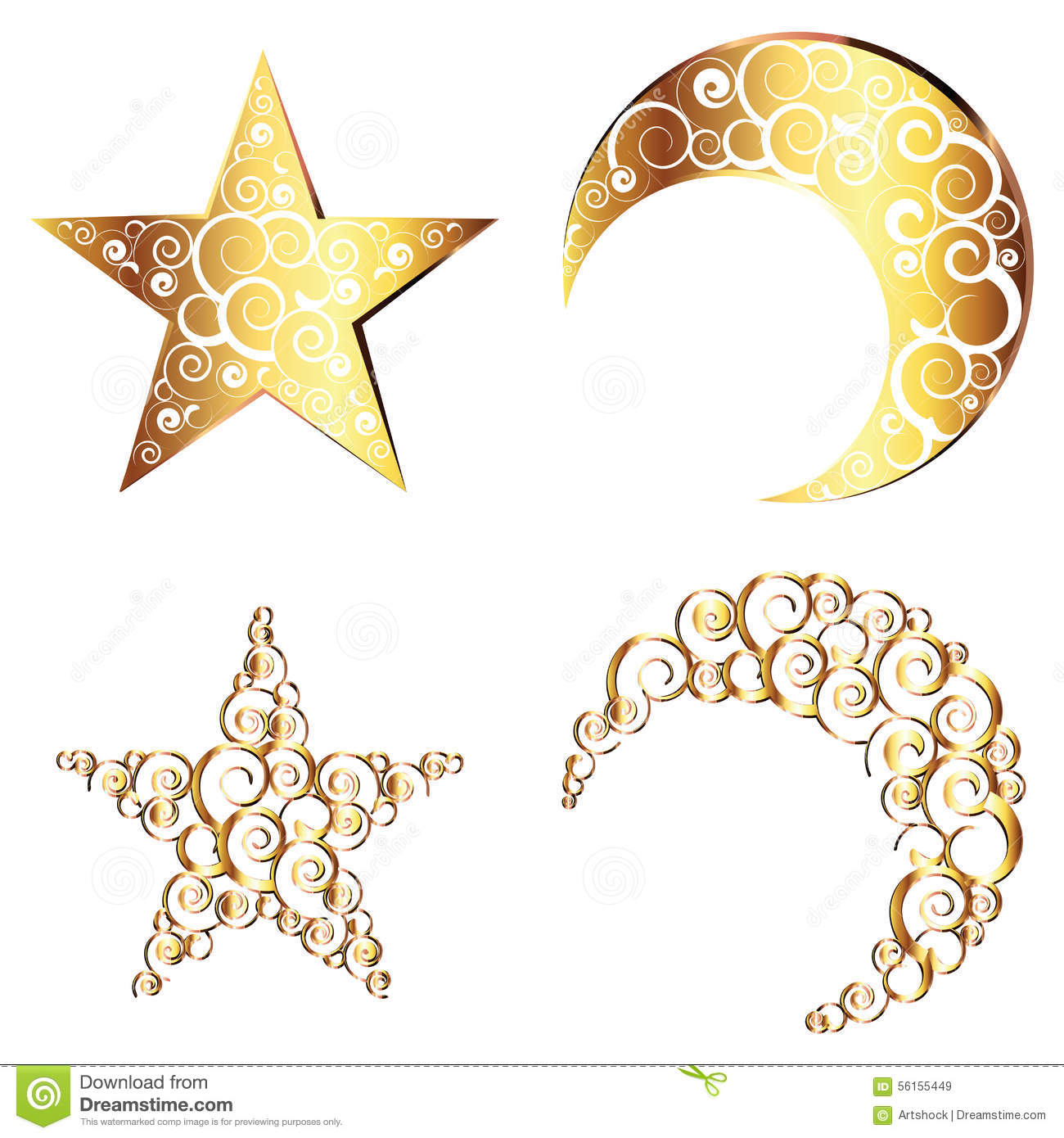 Crescent Moon And Star Symbols Stock Vector Illustration Of