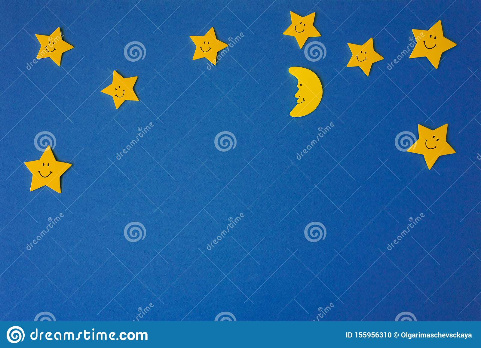 Crescent moon and yellow stars against the blue night sky. Application paper
