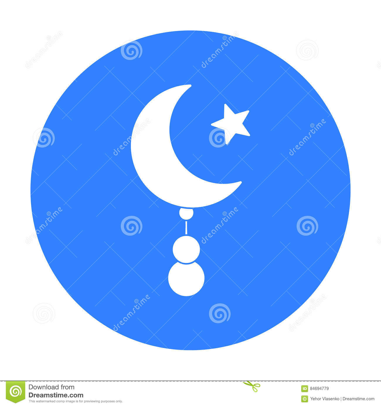 Crescent and Star icon in black style isolated on white background. Religion symbol stock vector illustration.