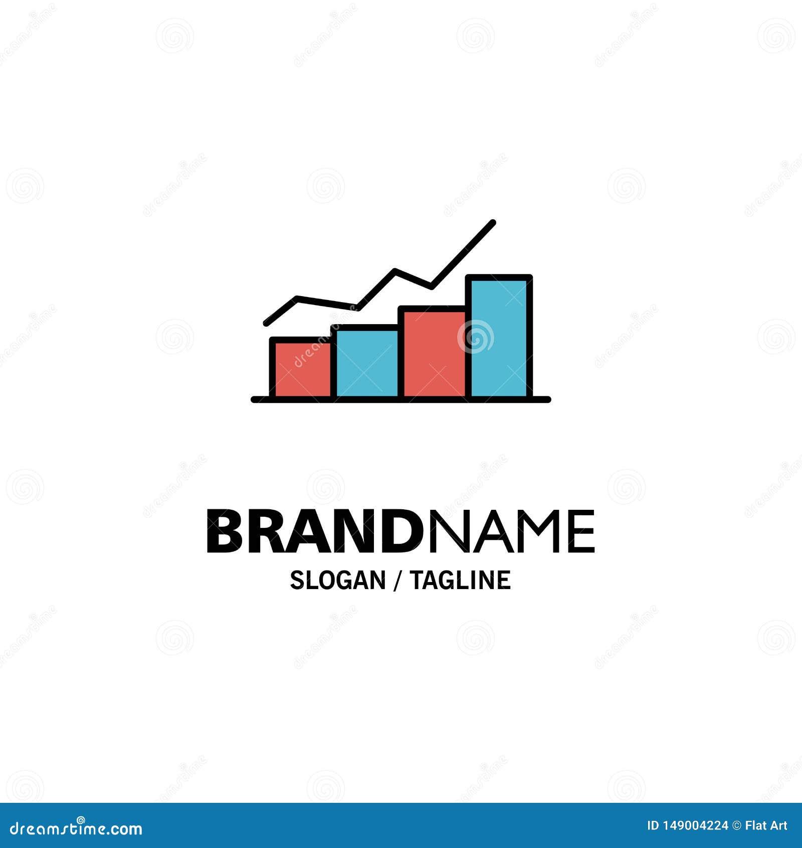 Crescimento, carta, fluxograma, gráfico, aumento, negócio Logo Template do progresso cor lisa