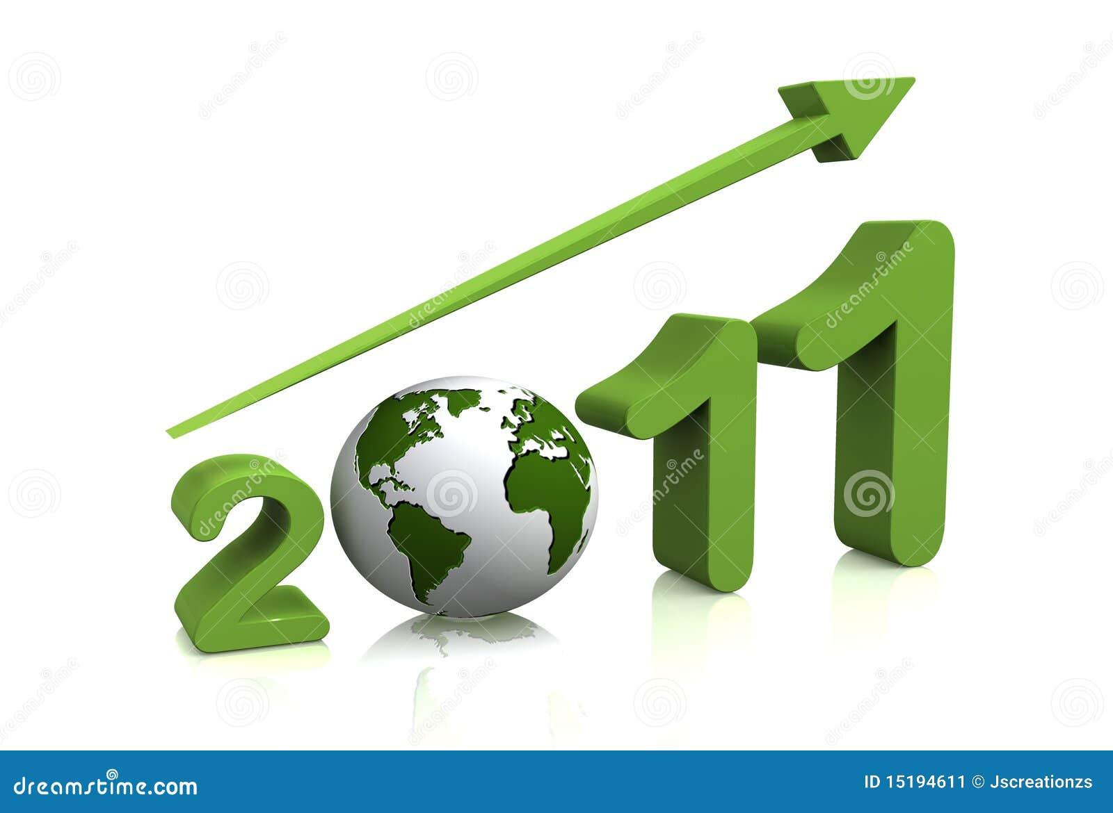Crescimento do ano 2011 com o globo 3d imagem de stock imagem 15194611 - Oglo o ...