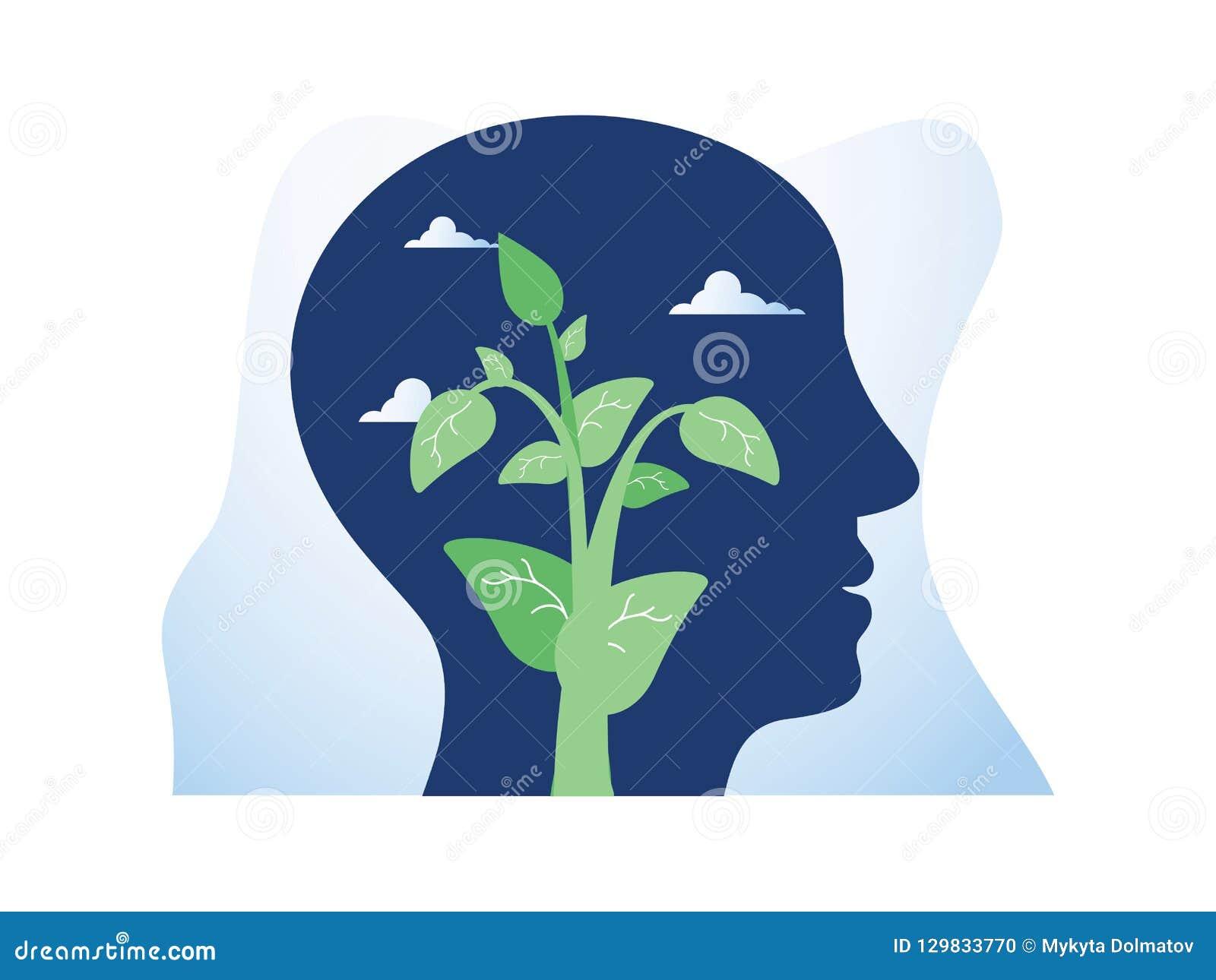 Crescimento do auto, desenvolvimento potencial, motivação e aspiração, saúde mental, mindset positivo, meditação do mindfulness