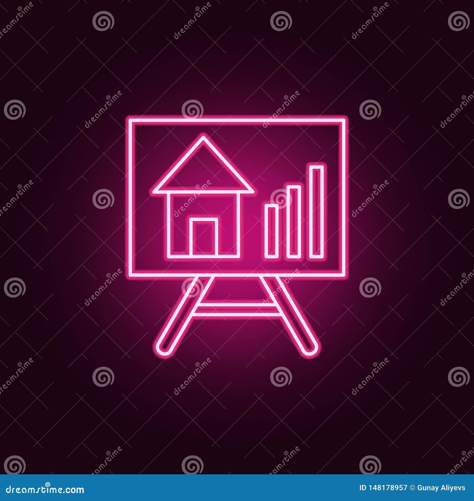 Crescita dell icona al neon di vettore di prezzi del bene immobile Elementi dell insieme di Real Estate E