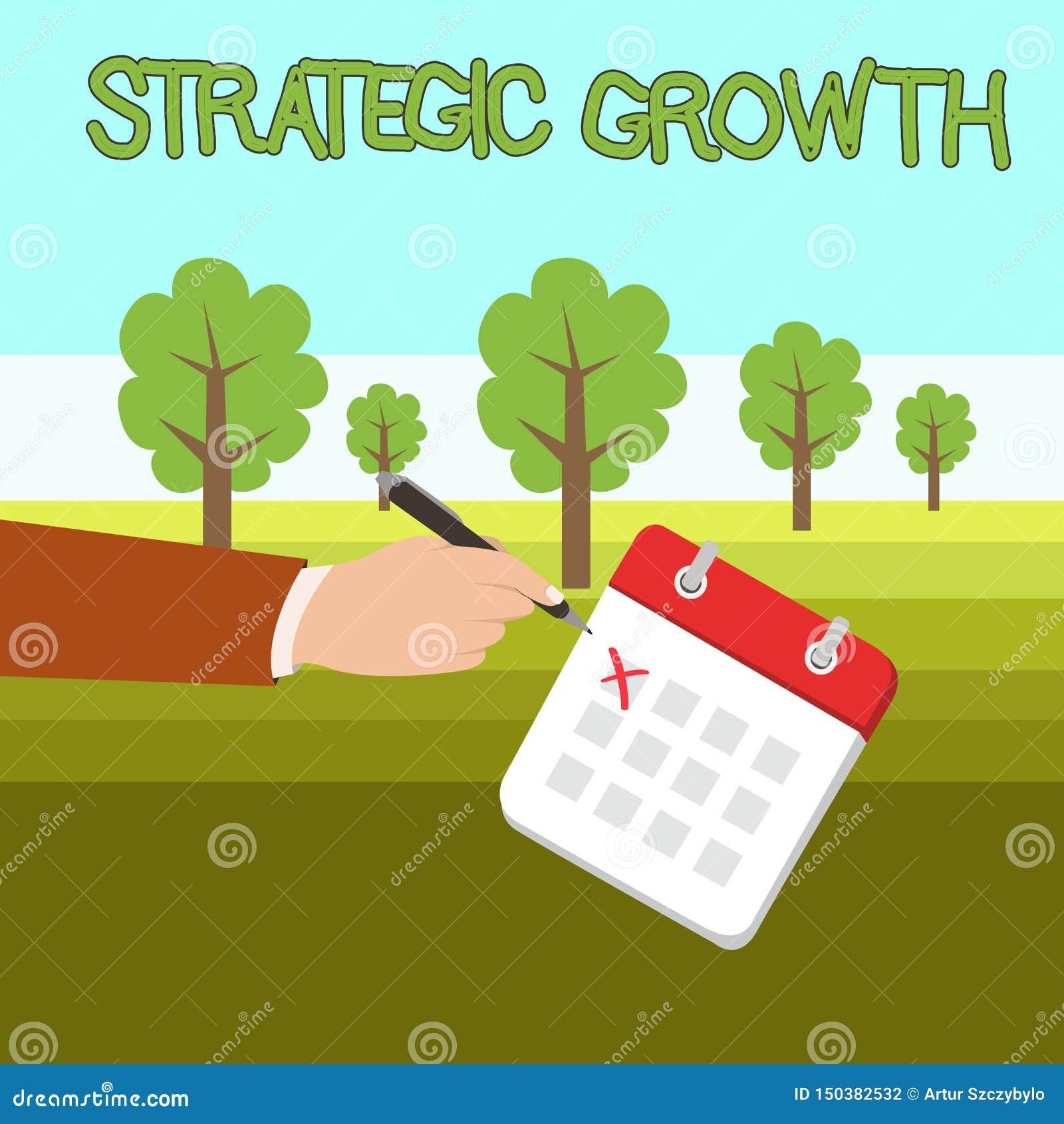Crescita strategica del testo di scrittura di parola Concetto di affari per creare piano o programma per aumentare le azione o il