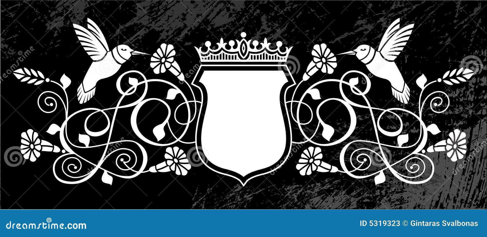 Download Cresta Reale Dei Fiori E Degli Uccelli Illustrazione Vettoriale - Illustrazione di nero, bianco: 5319323