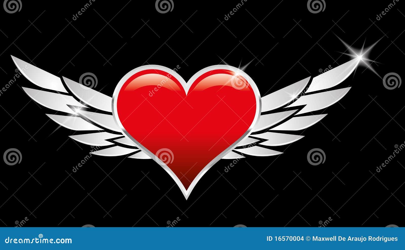 creste rosse di amore del cuore con le ali illustrazione. Black Bedroom Furniture Sets. Home Design Ideas