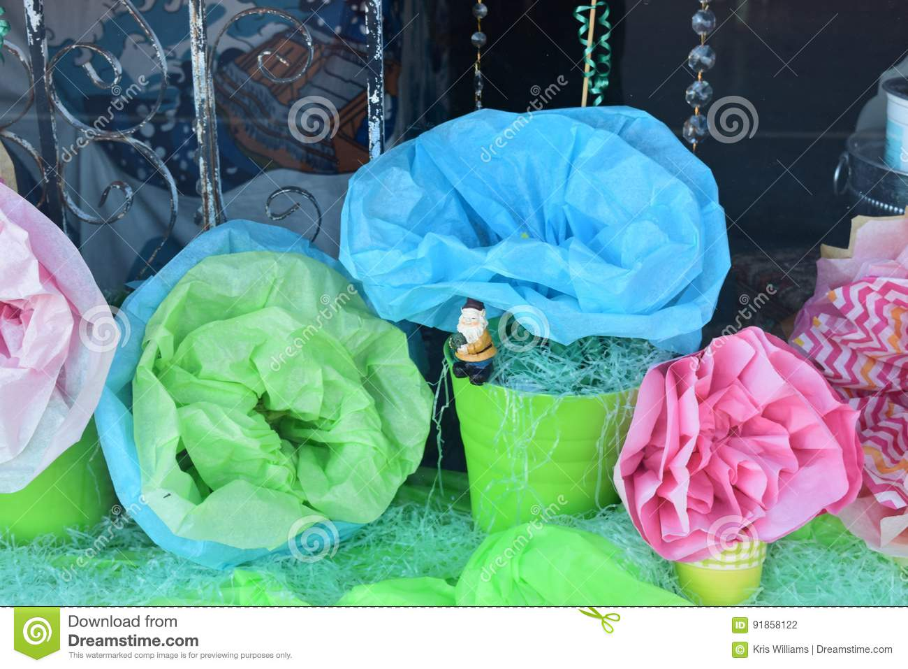 Crete paper flowers for spring display