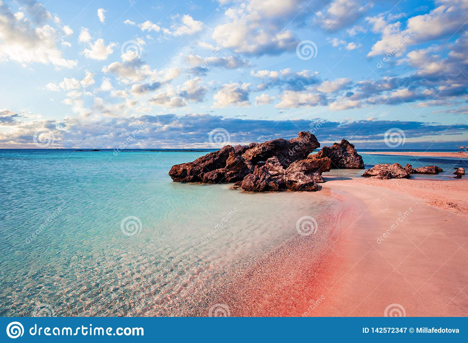 Crete Skyline Elafonissi Beach With Pink Sand Against Blue