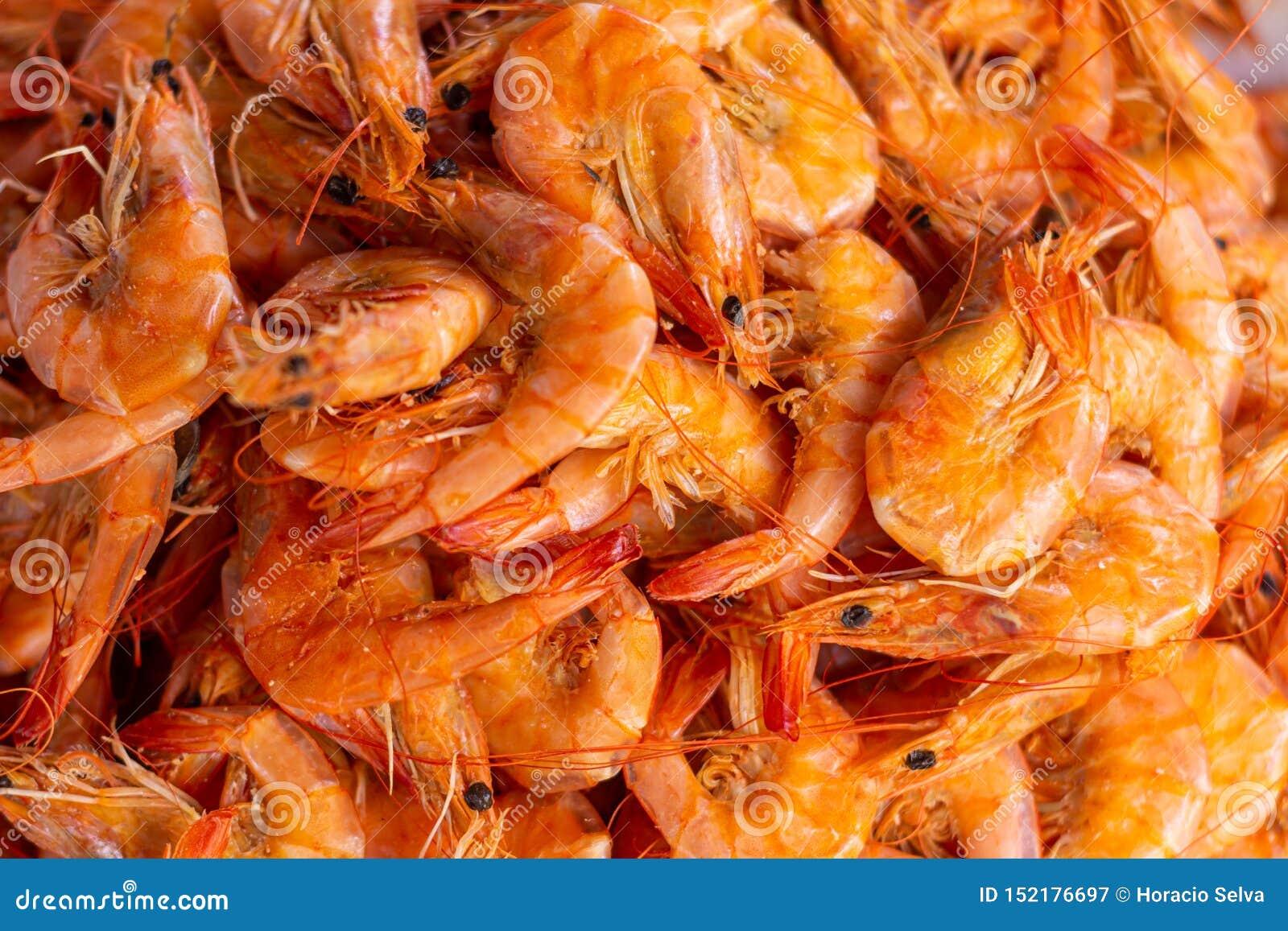 Crevette orange innombrable, nourriture marine fraîche