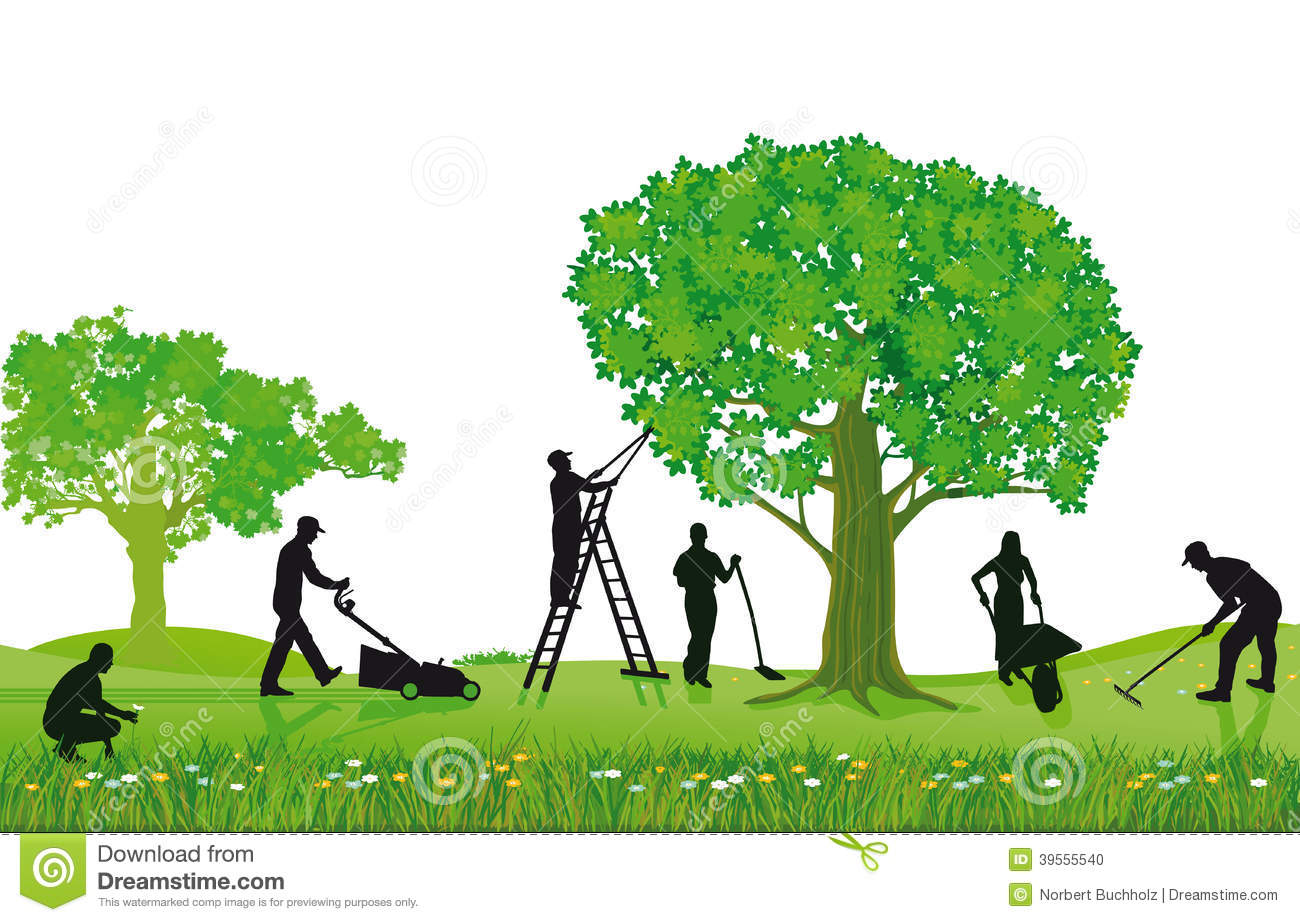 Crew of landscapers working outdoors stock vector for Entretien jardin 74