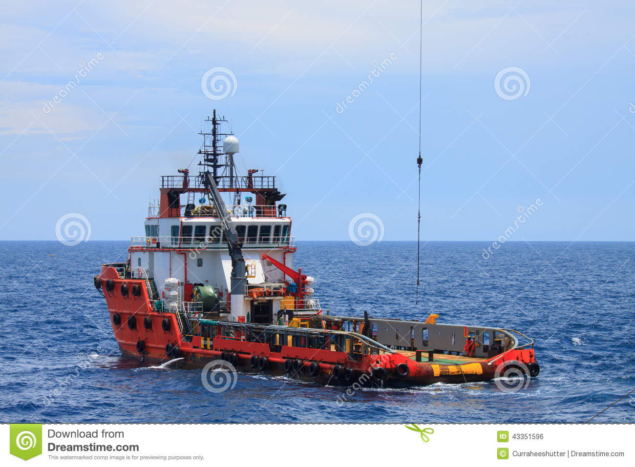 Crew And Supply Vessel Offshore Or Supply Boat. Stock Photo - Image: 43351596