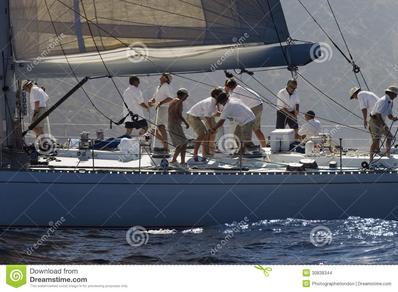 Crew Working On Sailboat Stock Images - Image: 30838344