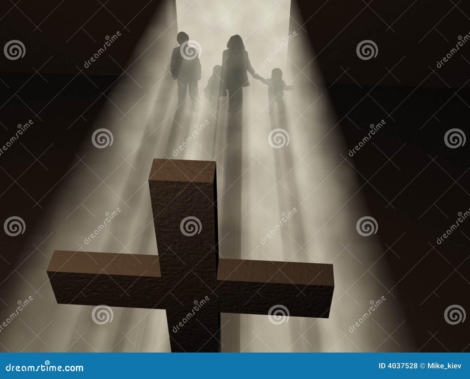Creyentes antes de una cruz