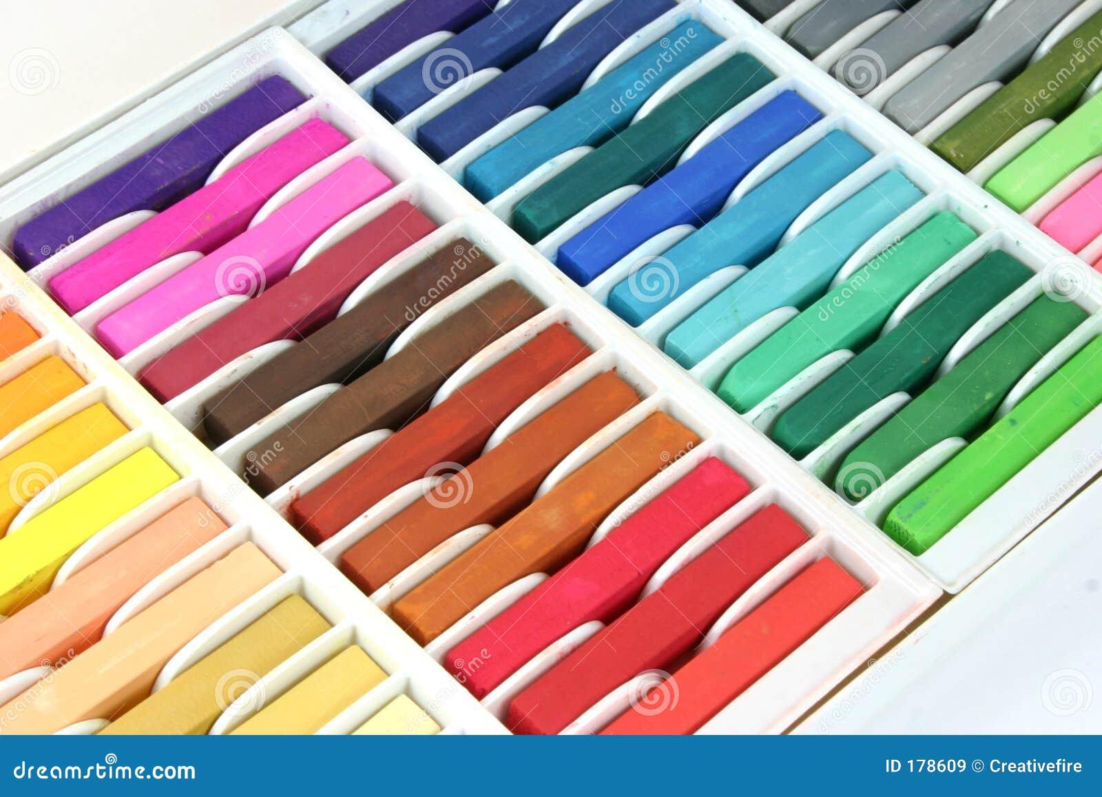 Creyones en colores pastel de la tiza