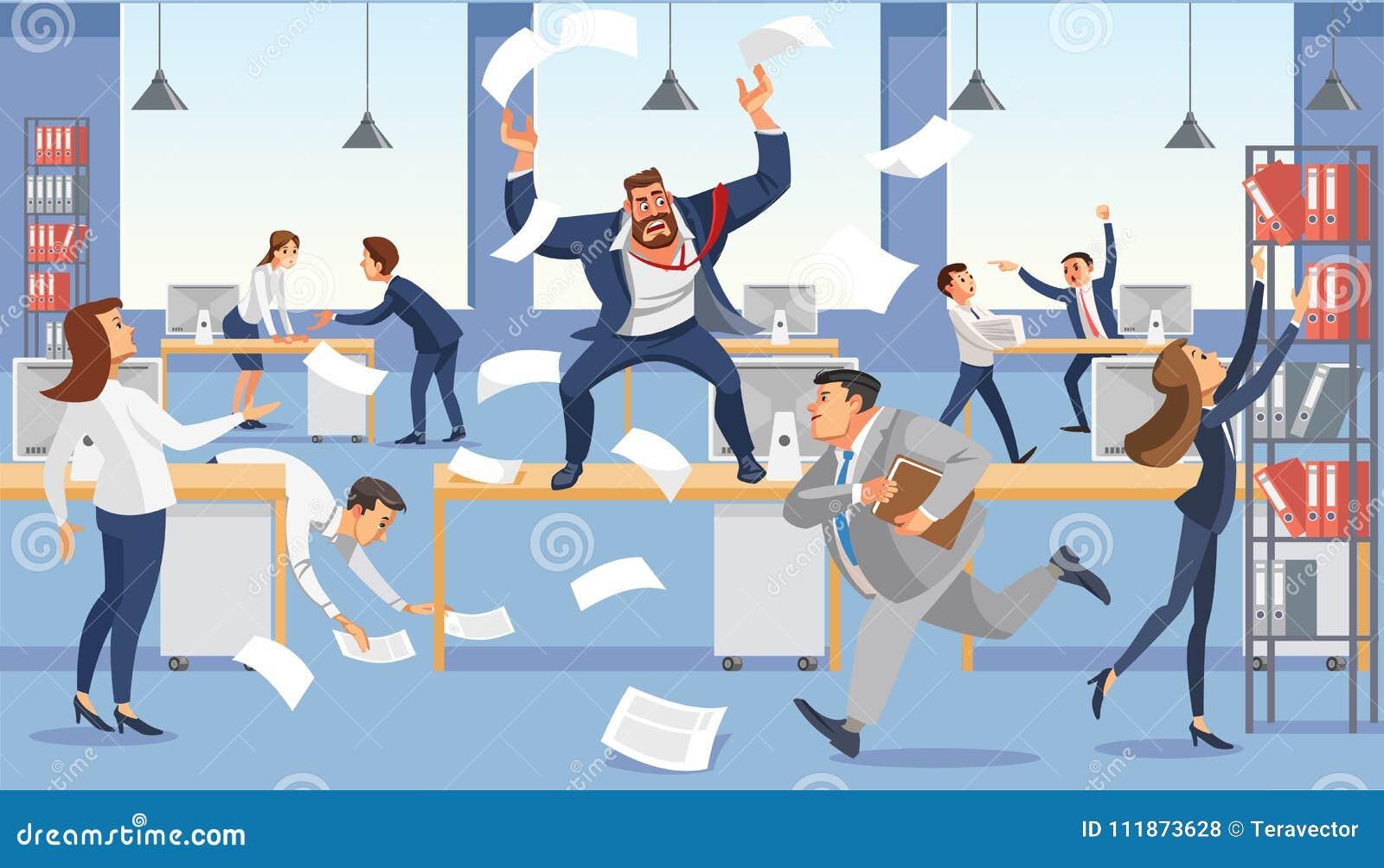 Cri fâché de patron dans le bureau de chaos en raison de la date-butoir d échec Personnages de dessin animé soumis à une contrain