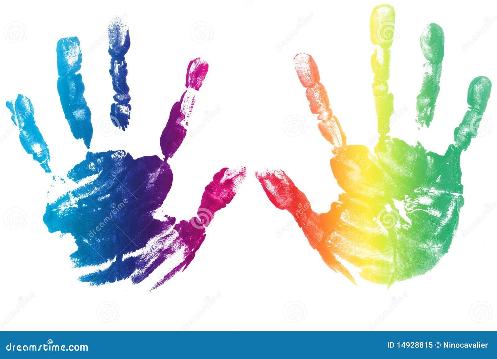 Crianca Colorida Das Maos Impressa Imagem De Stock Imagem De