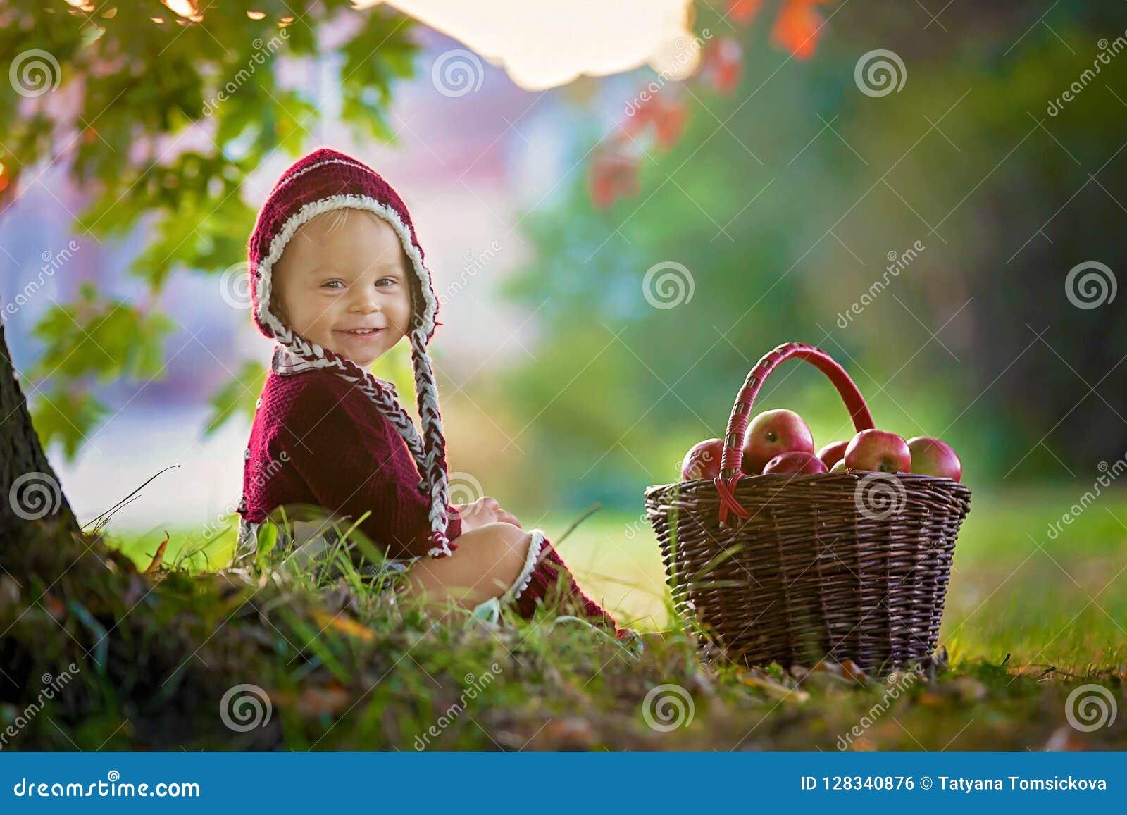 Criança com maçãs em uma vila no outono