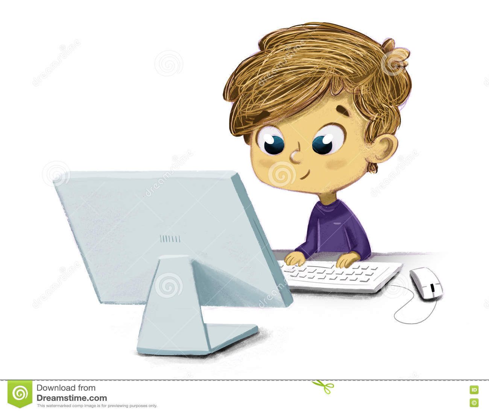 Criança com um computador