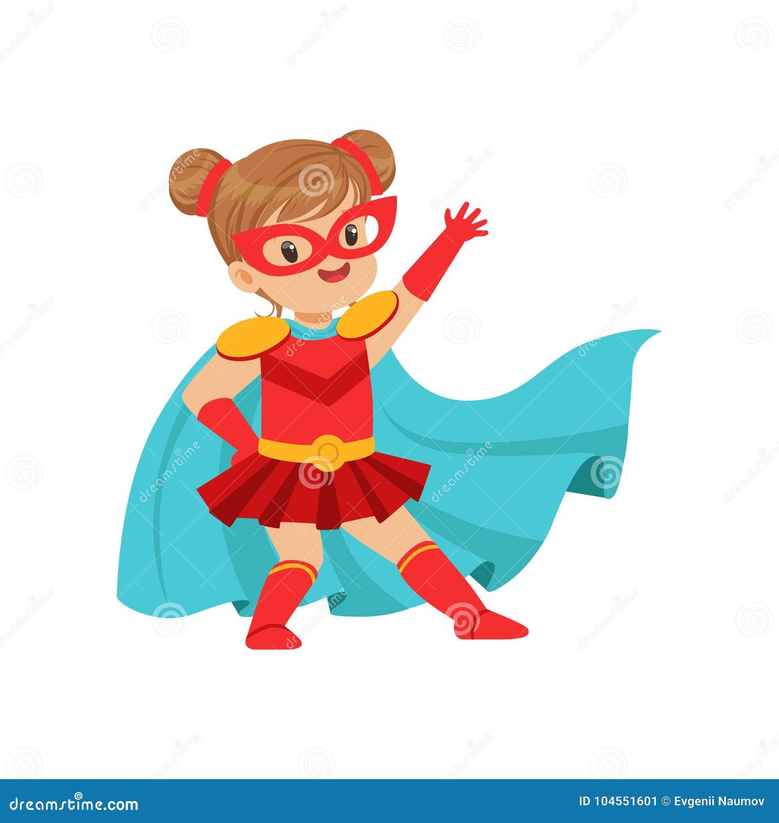 Criança corajoso cômica no traje vermelho do super-herói com máscara na cara e tornar-se no casaco azul do vento, levantamento e