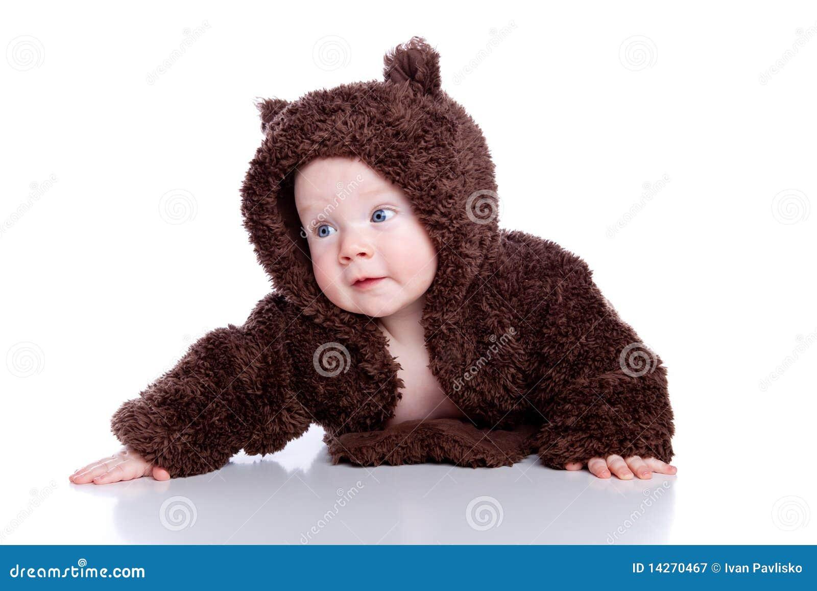 Criança do bebê na peluche