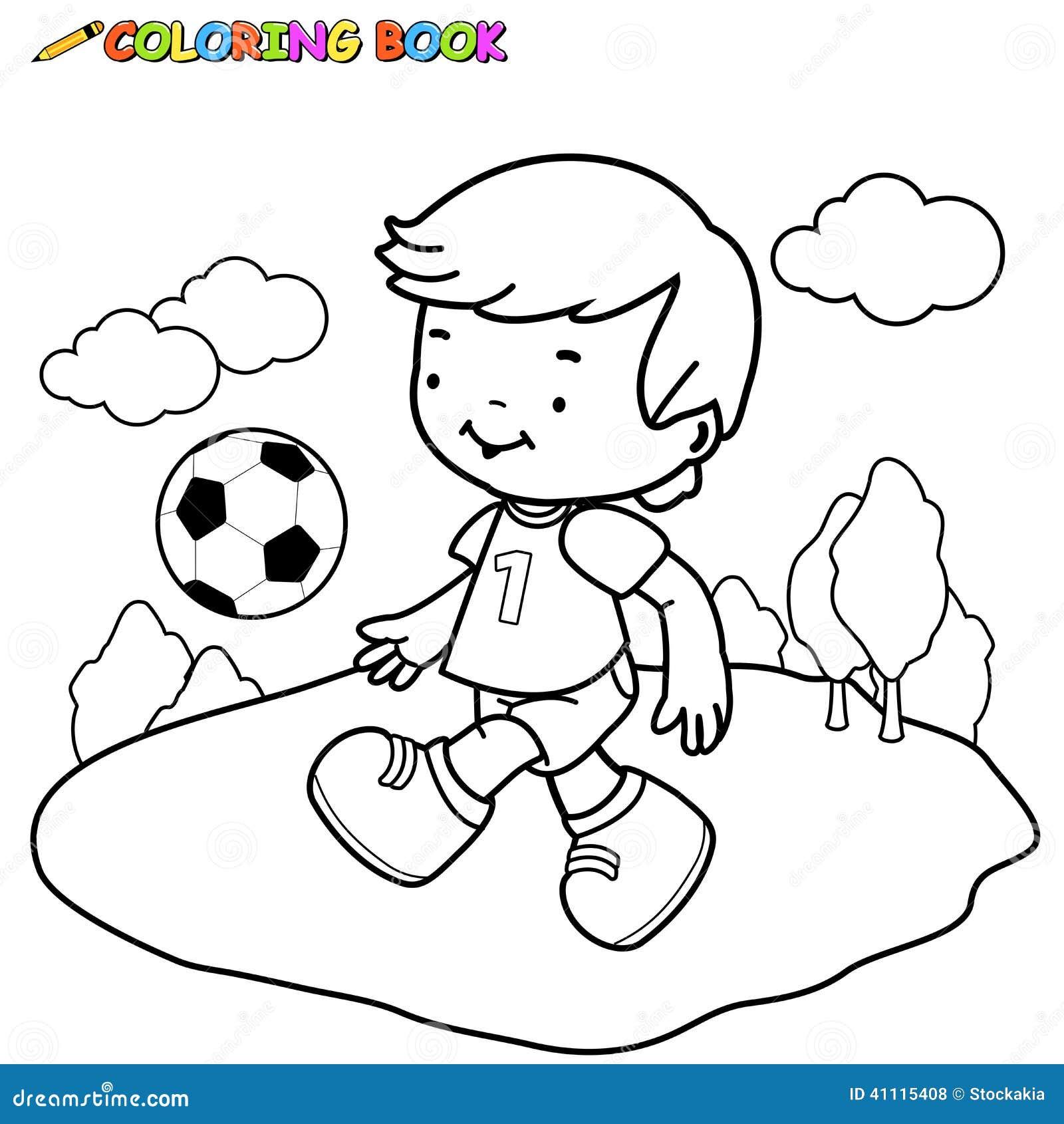 Criança Do Futebol Do Livro Para Colorir Ilustração Do Vetor