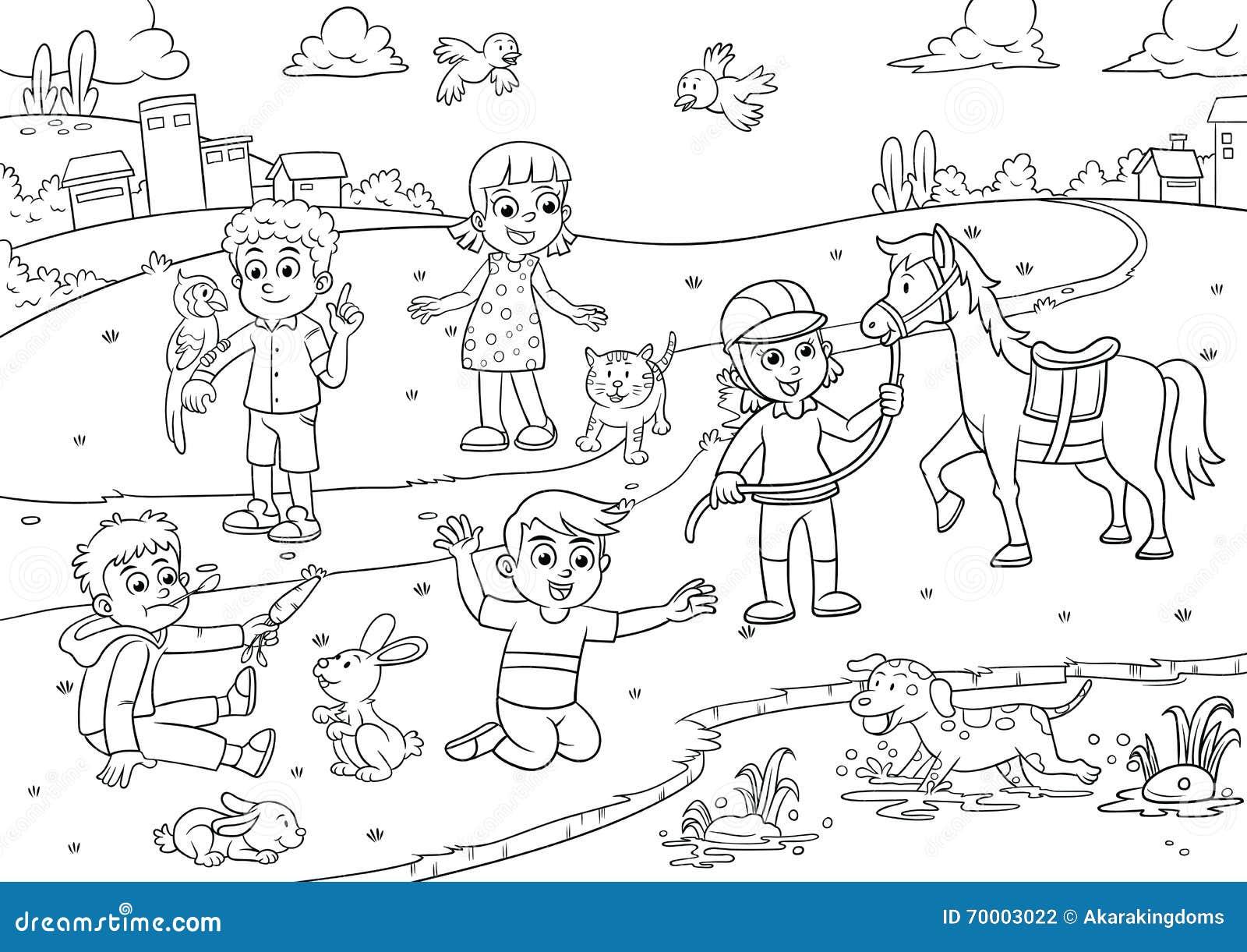 crian u00e7a e animal de estima u00e7 u00e3o nos desenhos animados do parque para colorir ilustra u00e7 u00e3o do vetor