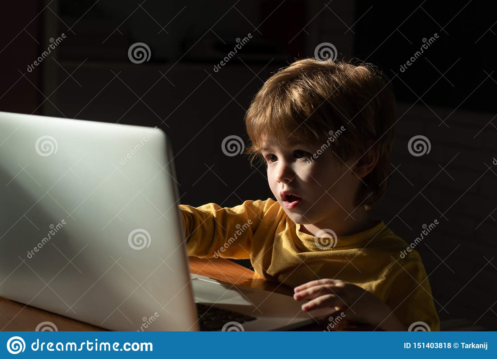 Criança em casa que usa um portátil para desenhos animados de observação Informação interessante no Internet para crianças Intern