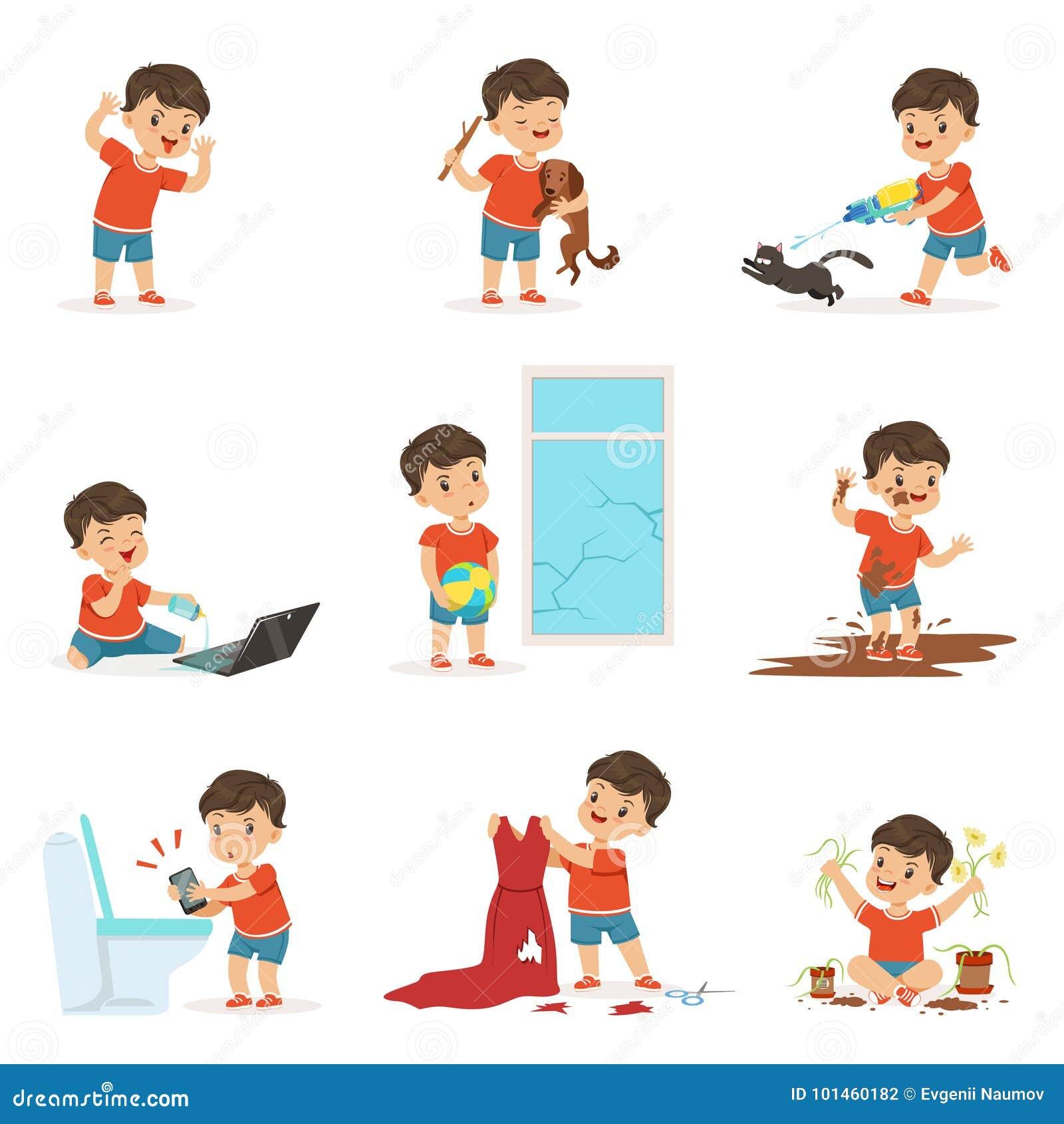 Criança engraçada que joga jogos e que faz a confusão