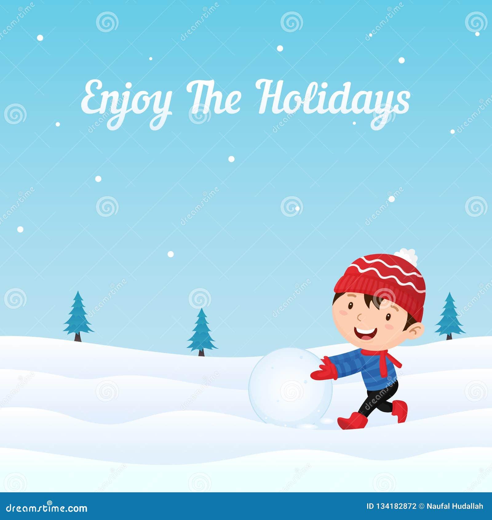 A criança feliz aprecia jogar a bola de neve que faz o boneco de neve na ilustração do vetor da neve Cartão do feriado, bandeira,