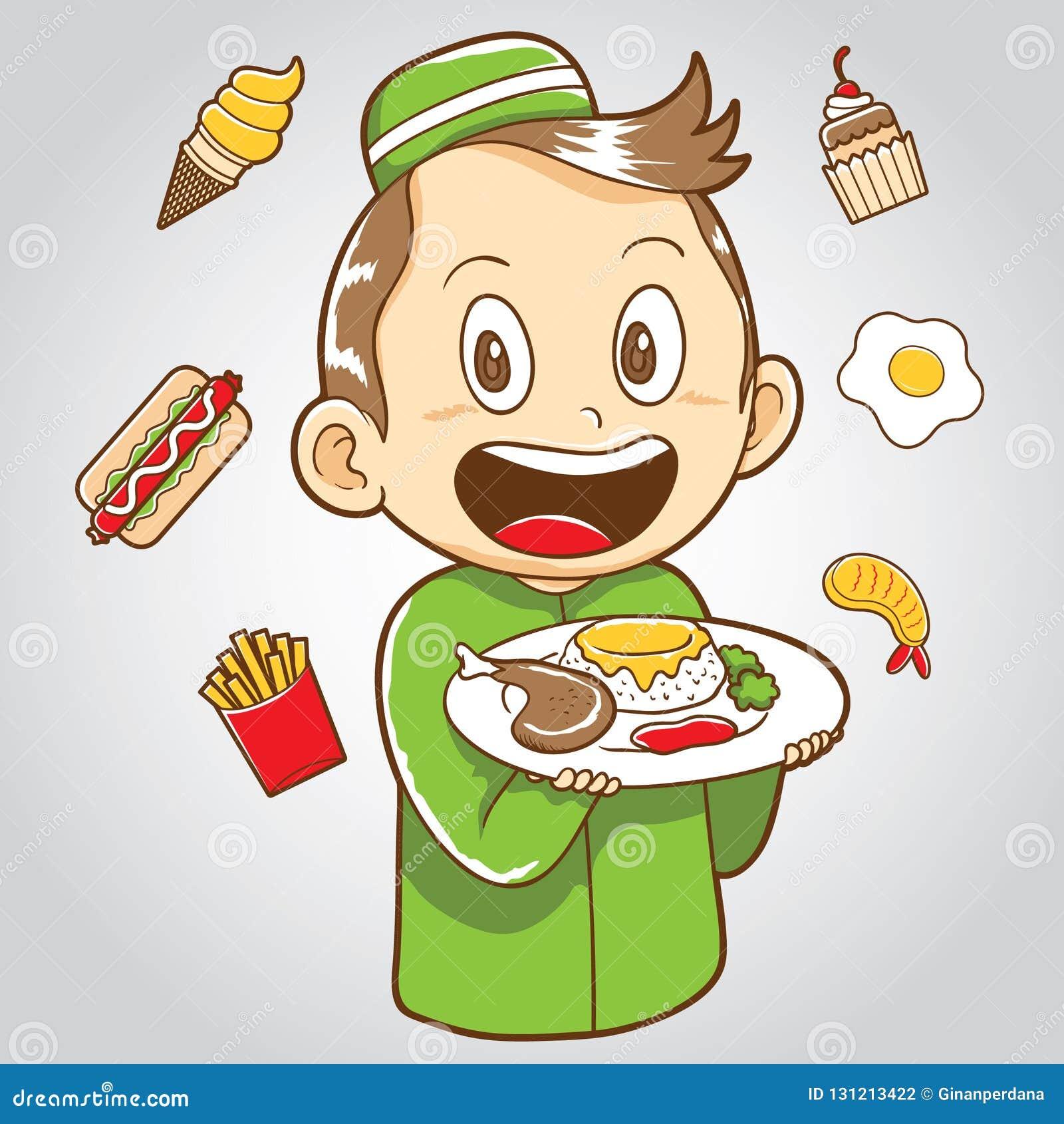 Criança muçulmana com comida lixo e alimento saudável