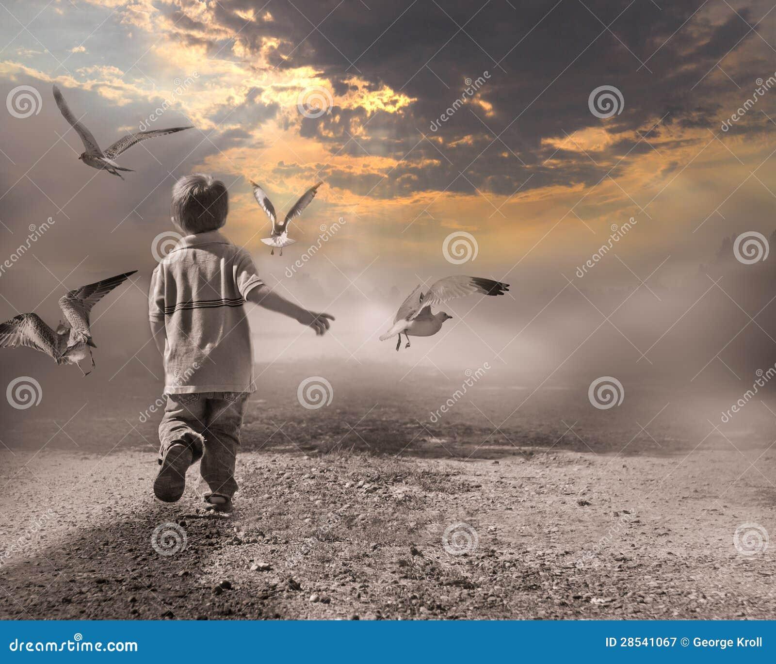 Criança que funciona através da névoa à luz do dia novo.