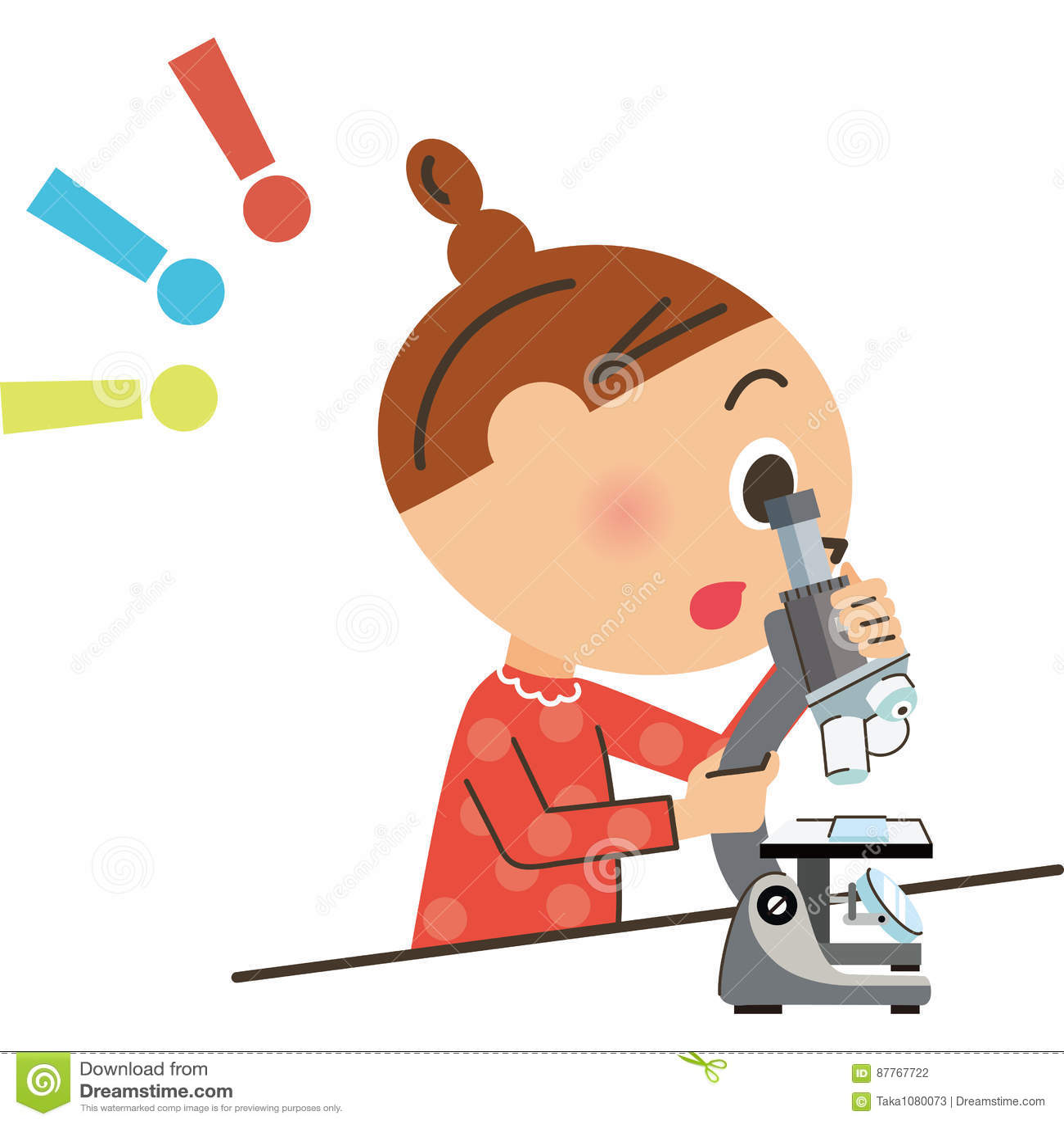 A criança que olha em um microscópio