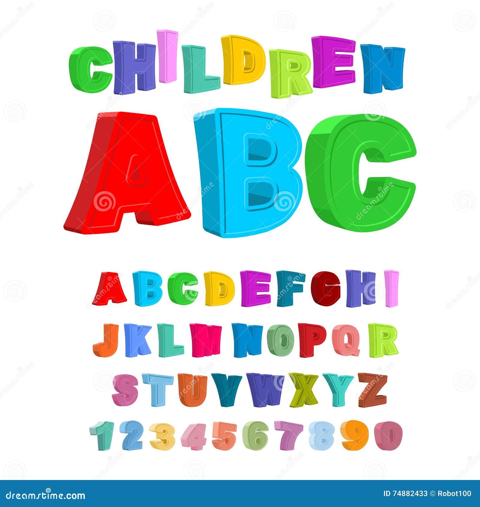 Crianças ABC Grandes letras no estilo das crianças alfabeto dos bebês 3D F