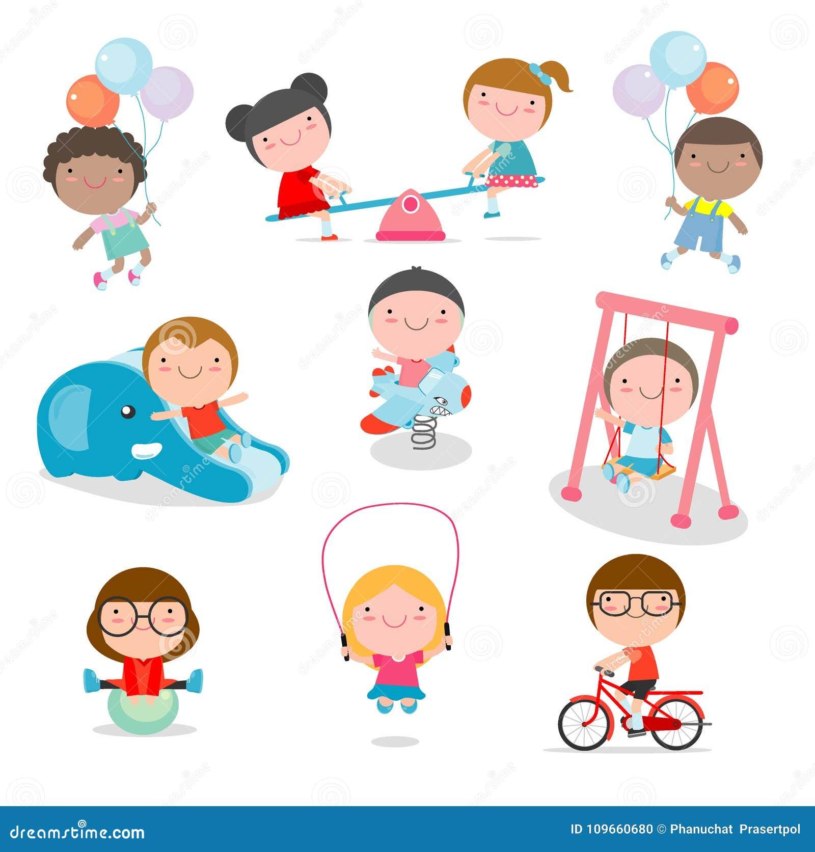 Crianças bonitos que jogam com os brinquedos no campo de jogos, crianças no parque no fundo branco, ilustração do vetor