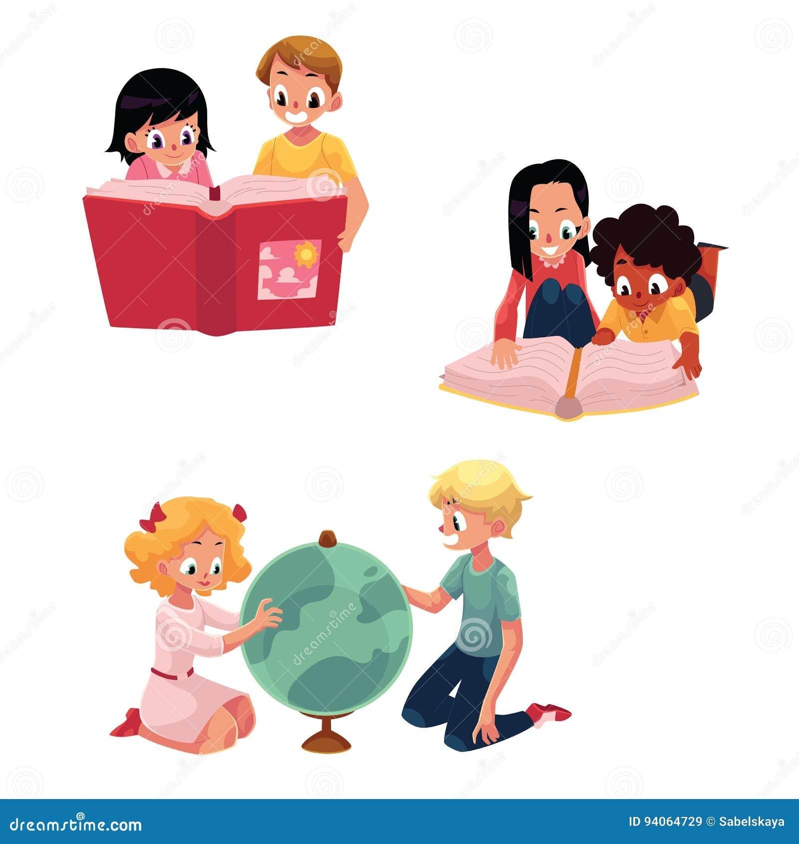 Criancas Criancas Que Leem Estudando Aprendendo Junto