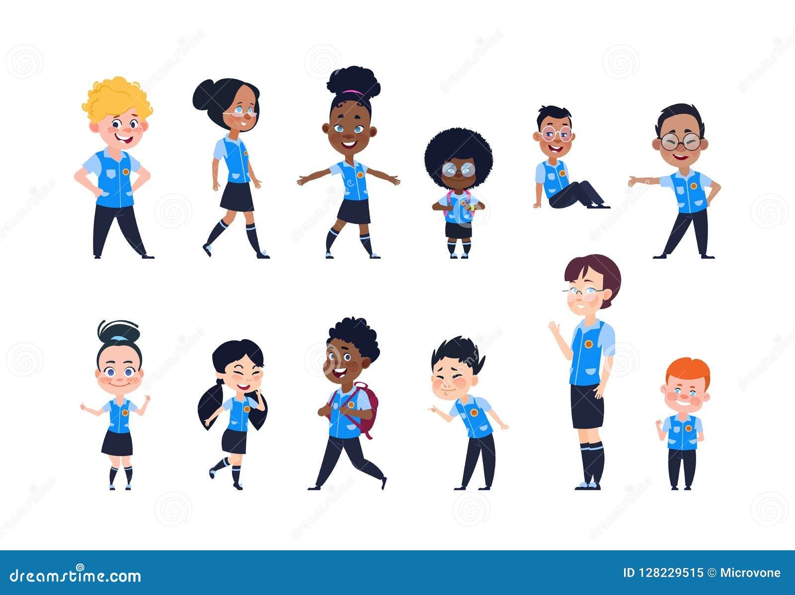Criancas Da Escola Criancas Felizes Dos Desenhos Animados No