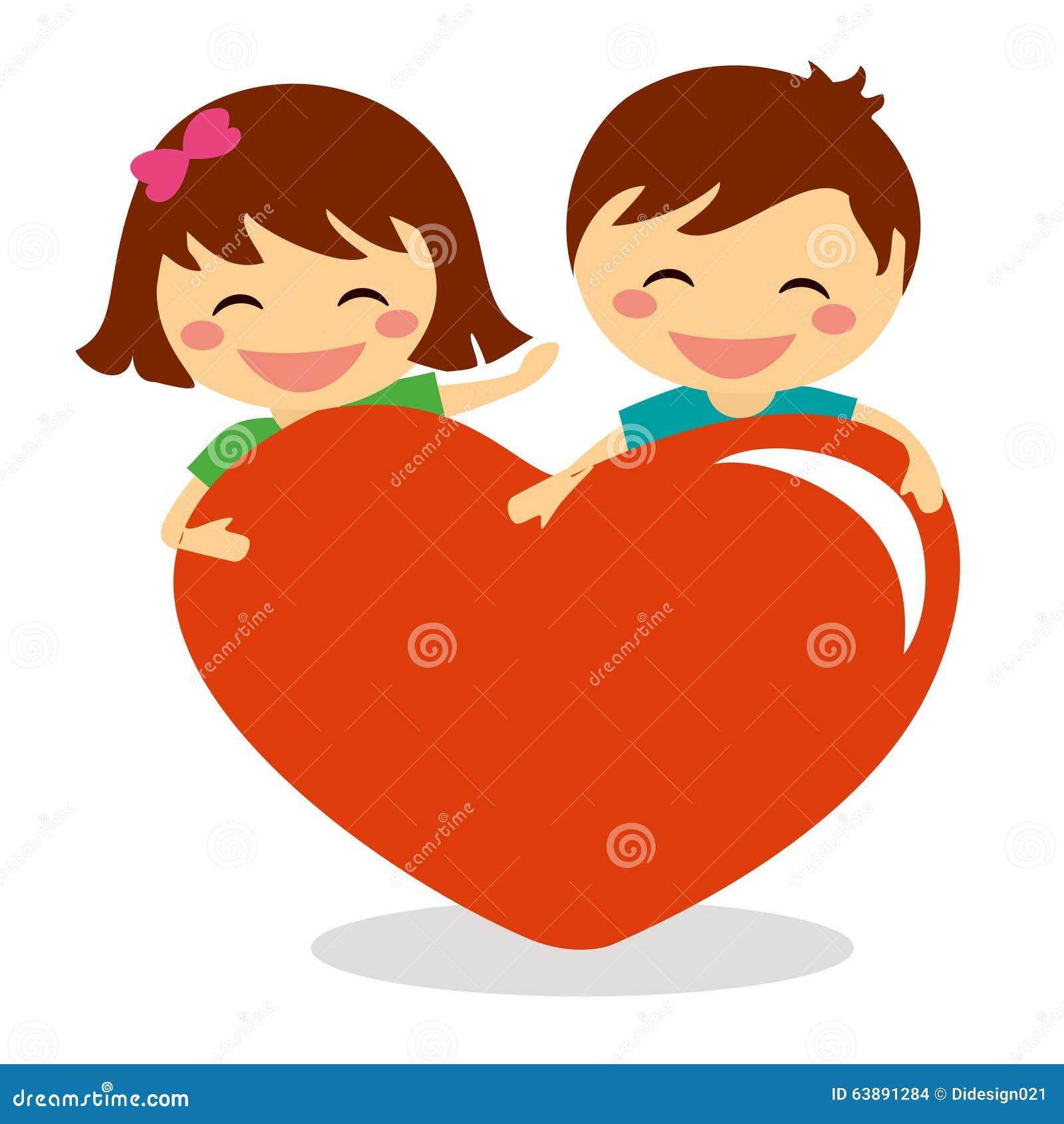 Crianças de Valentine Day que guardam o coração