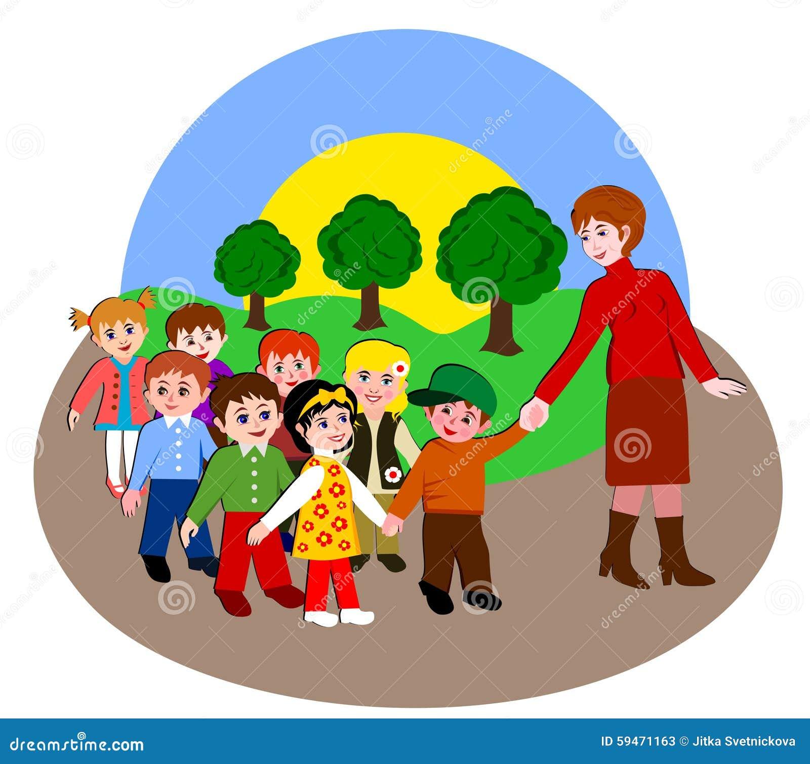 imagens jardim infancia:Child Walking with Teacher