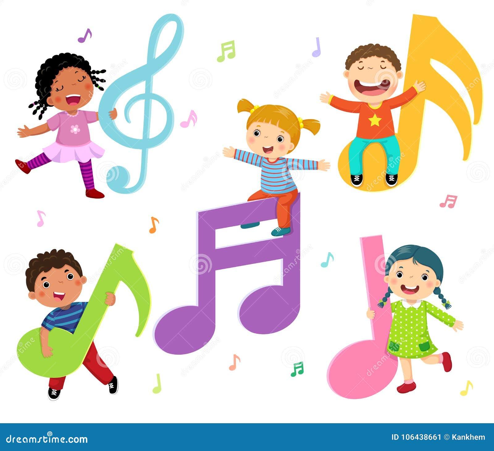 Criancas Dos Desenhos Animados Com Notas Da Musica Ilustracao Do