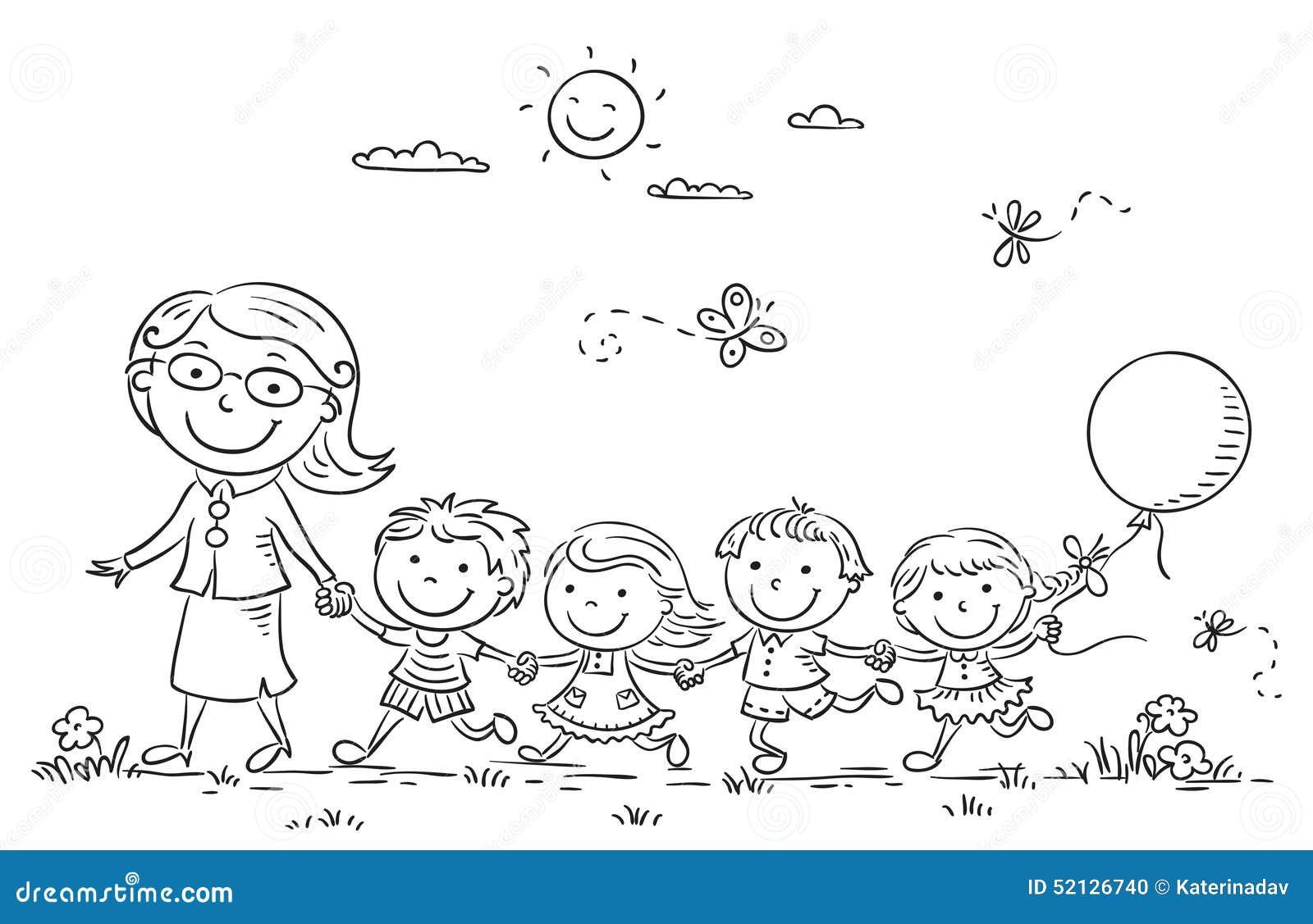 Crianças dos desenhos animados e seu professor Outdoors, esboço