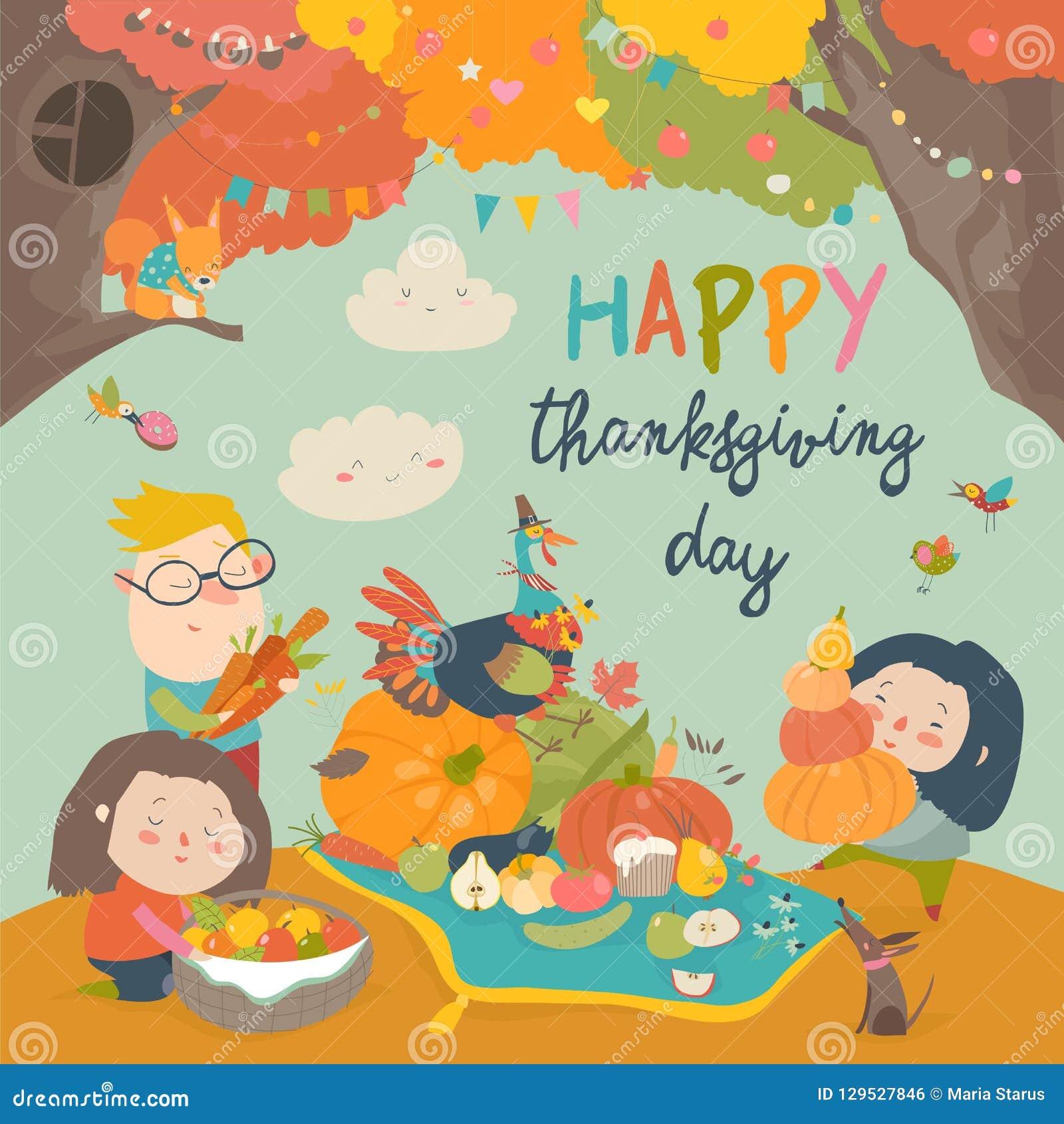 Crianças dos desenhos animados que colhem no jardim do outono Dia feliz da acção de graças