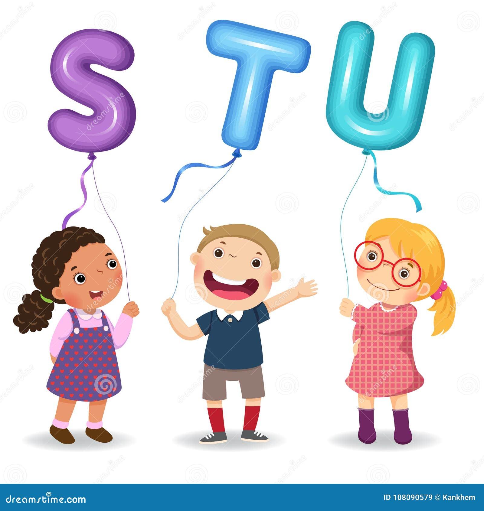 Crianças dos desenhos animados que guardam balões dados forma STU da letra