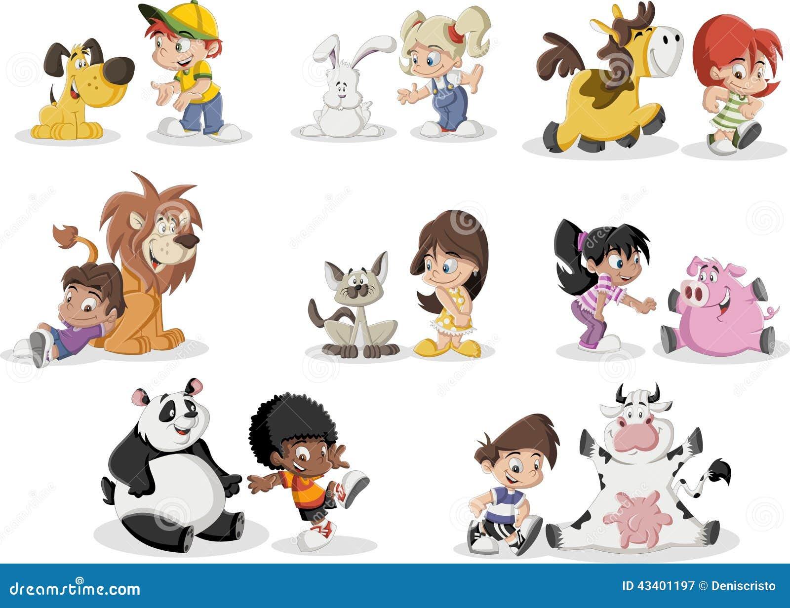 Crianças Que Jogam O Futebol Nos Desenhos Animados Do: Crianças Dos Desenhos Animados Que Jogam Com Animal De