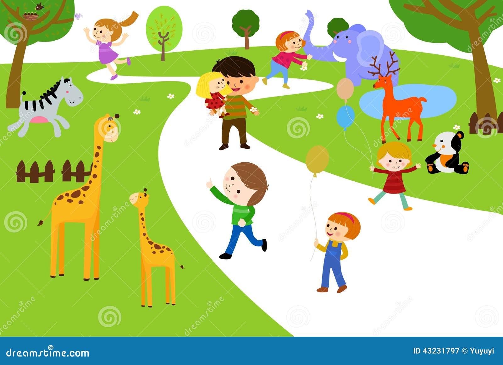 Zoológico De Animais Bebê Dos Desenhos Animados Vetor: Crianças E Animais Dos Desenhos Animados Ilustração Do