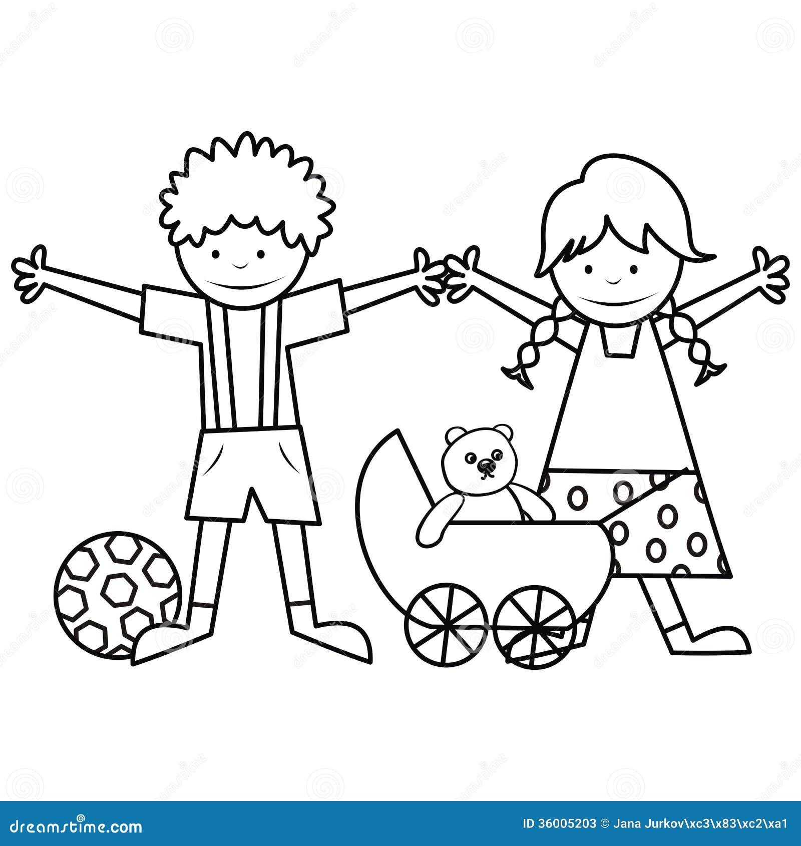 Criancas E Brinquedos Livro Para Colorir Ilustracao Do Vetor