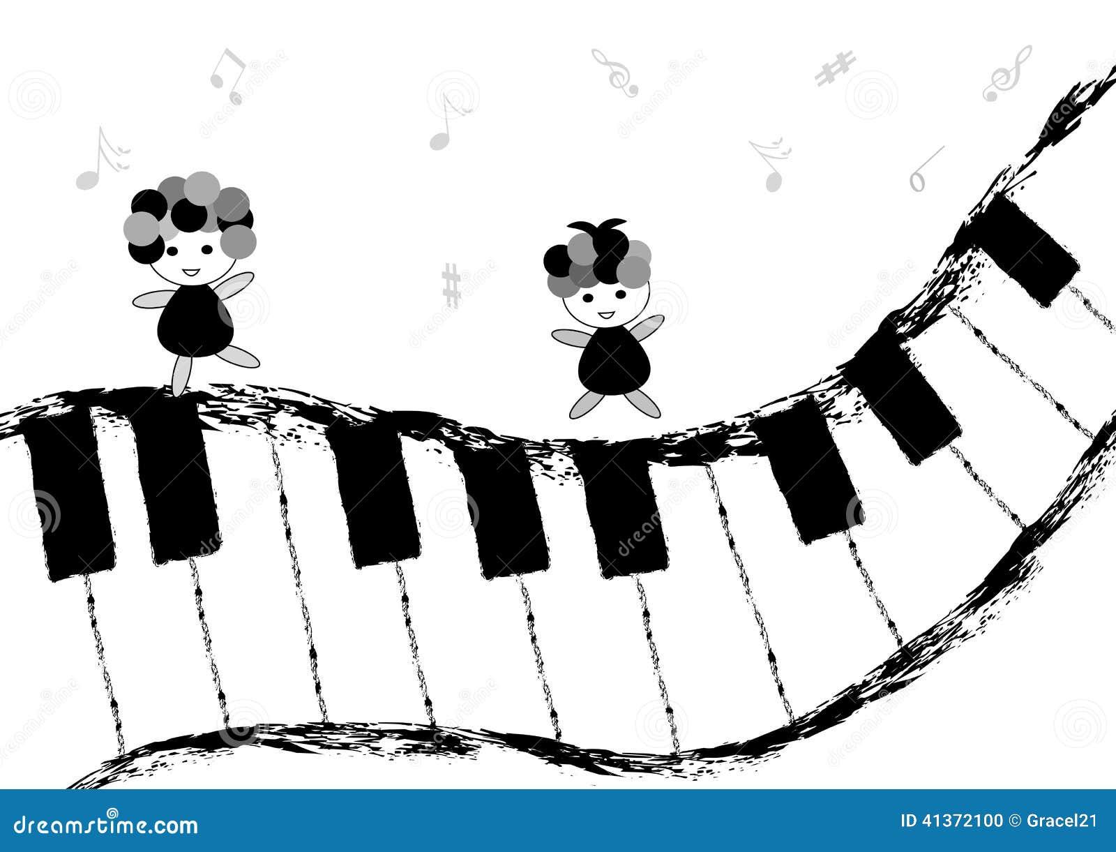 Criancas E Teclado De Piano Ilustracao Do Vetor Ilustracao De