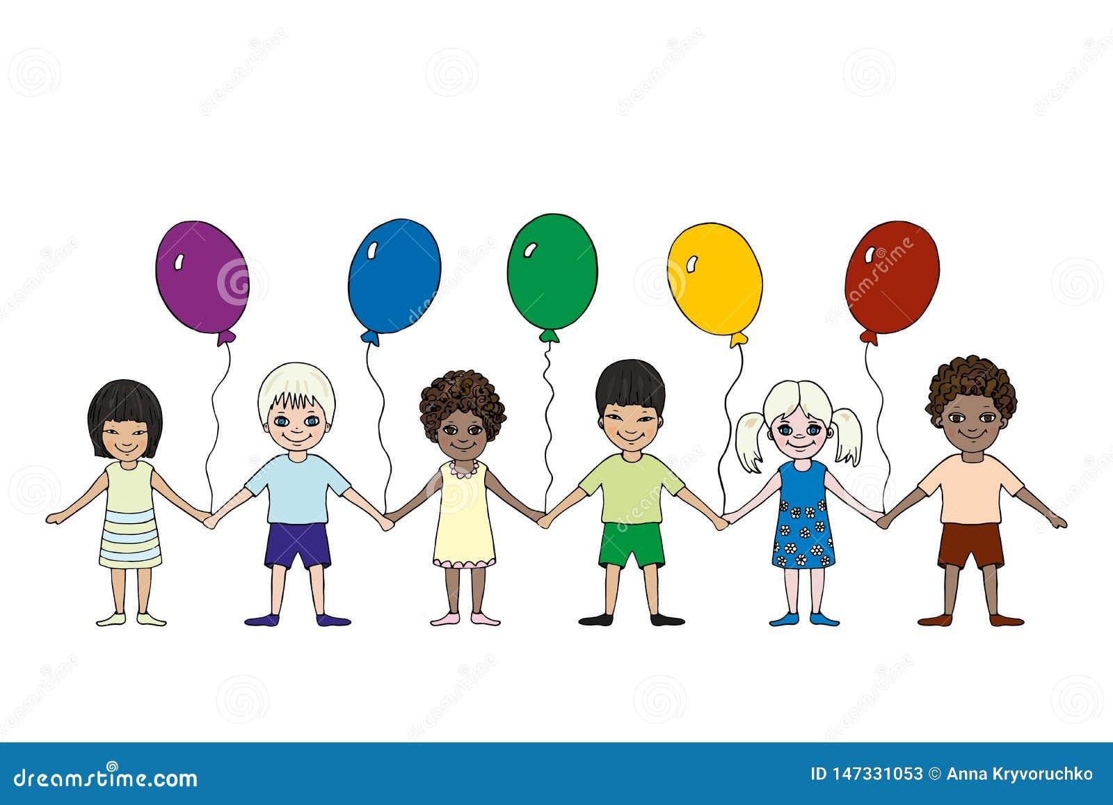 Crianças felizes de raças diferentes com balões Dia internacional do ` s das crian?as