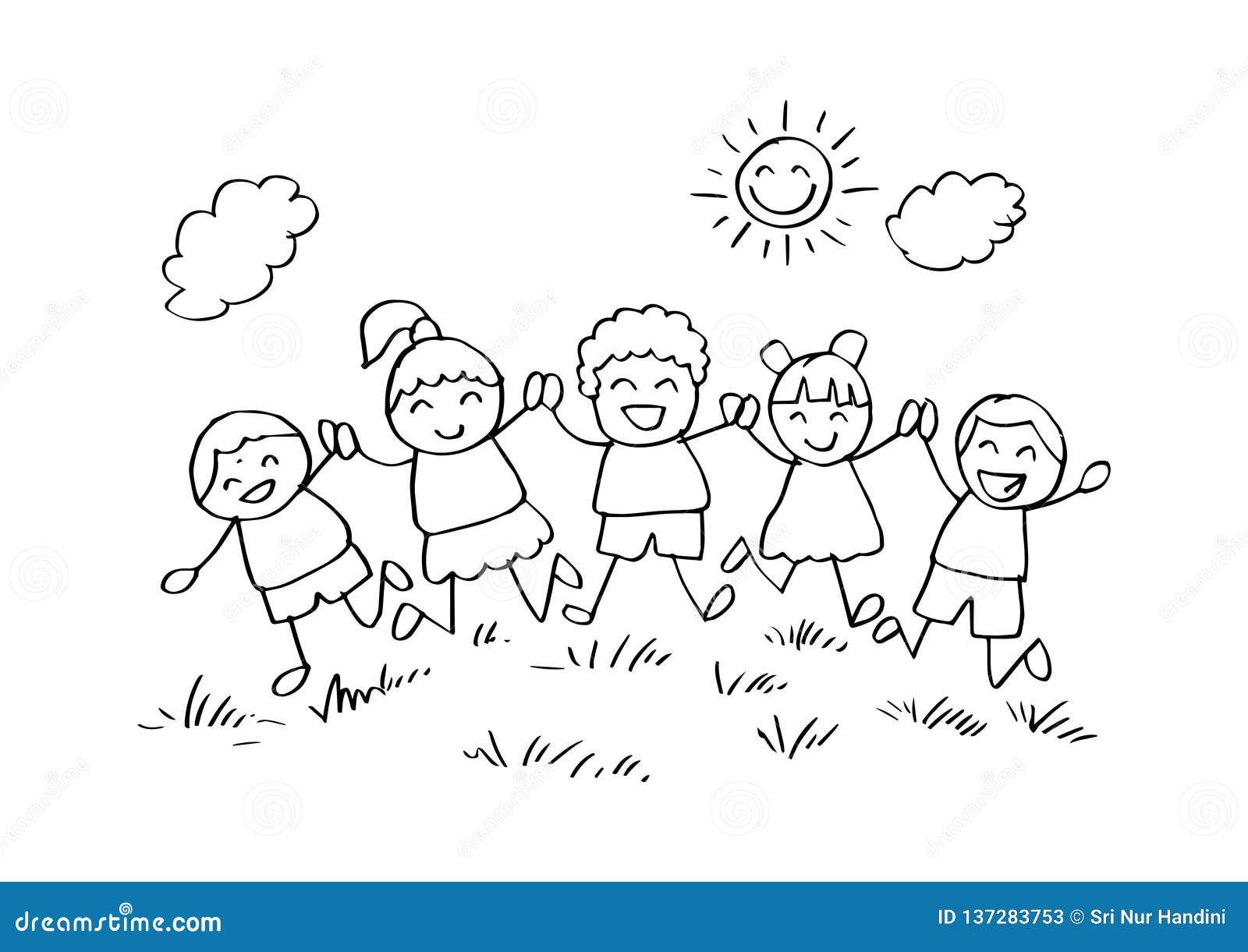 Criancas Felizes Dos Desenhos Animados Que Jogam Junto Ilustracao